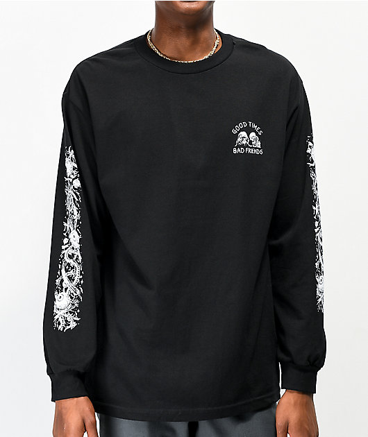 Lurking Class By Sketchy Tank Good Times Bad Friends Black Long Sleeve T-Shirt