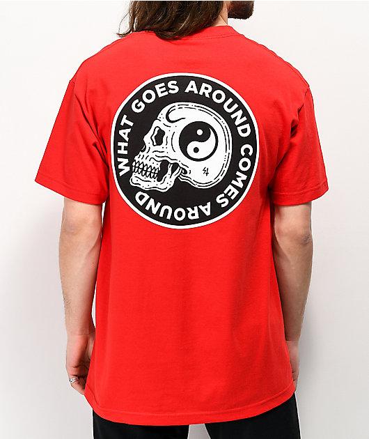 Lurking Class By Sketchy Tank Yin Yang Skull Red T-Shirt