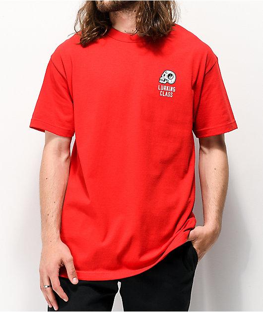 Lurking Class By Sketchy Tank Ying Yang Skull camiseta roja