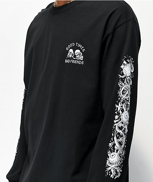 Lurking Class By Sketchy Tank x Stikker Good Times Bad Friends Black Long Sleeve T-Shirt