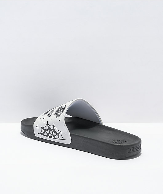 Lurking Class by Sketchy Tank Black & White Slide Sandals