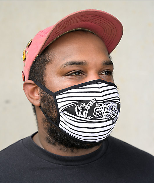 Lurking Class by Sketchy Tank Blinds Black & White Face Mask