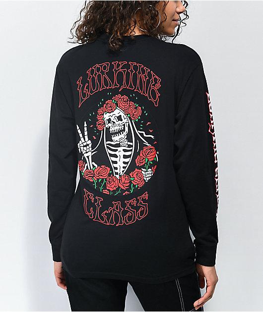 Lurking Class by Sketchy Tank Dertha Rose Black Long Sleeve T-Shirt