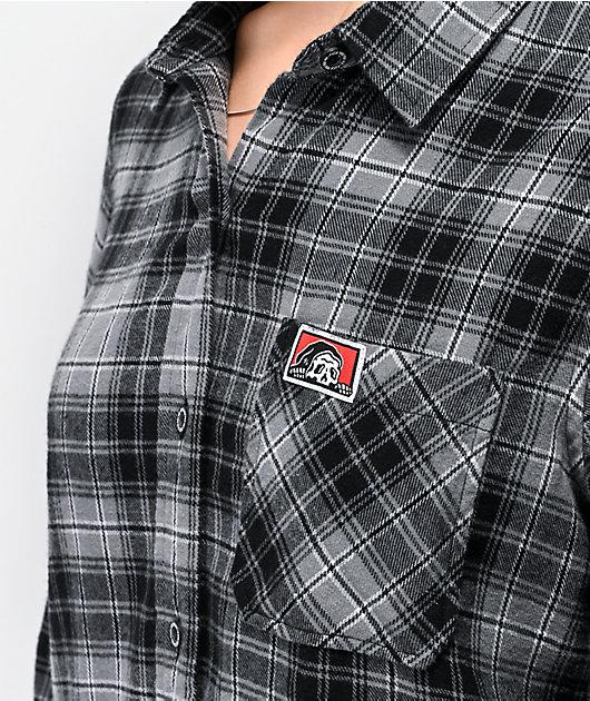 Lurking Class by Sketchy Tank Flames camisa de franela negra y gris