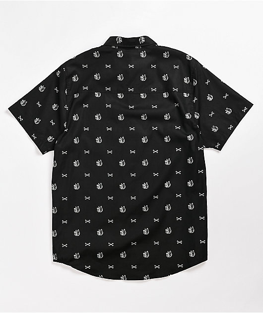 Lurking Class by Sketchy Tank K-9 Black Short Sleeve Button Up Shirt