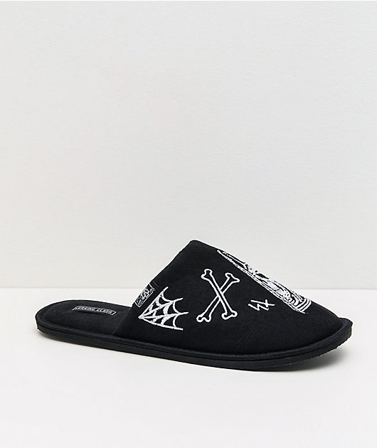 Lurking Class by Sketchy Tank Logo Black Slippers