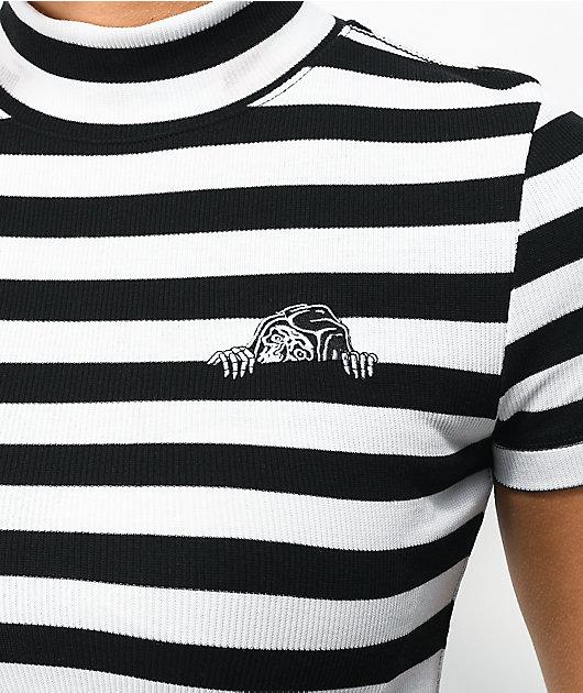 Lurking Class by Sketchy Tank Lurker Black & White Stripe Mock Neck Crop Top
