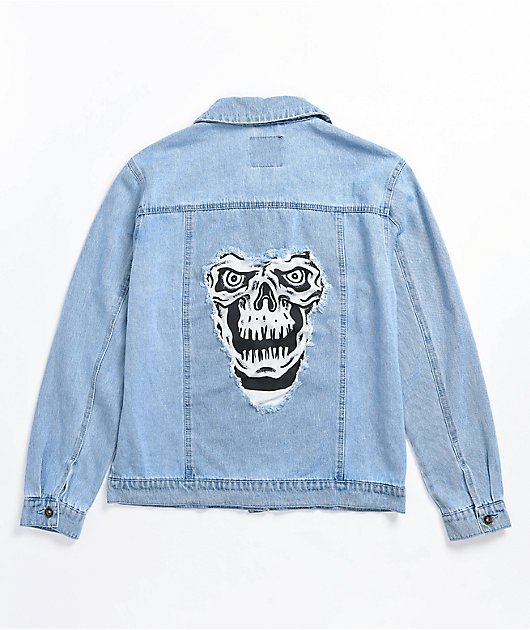 Lurking Class by Sketchy Tank RIP Distressed Light Wash Denim Jacket