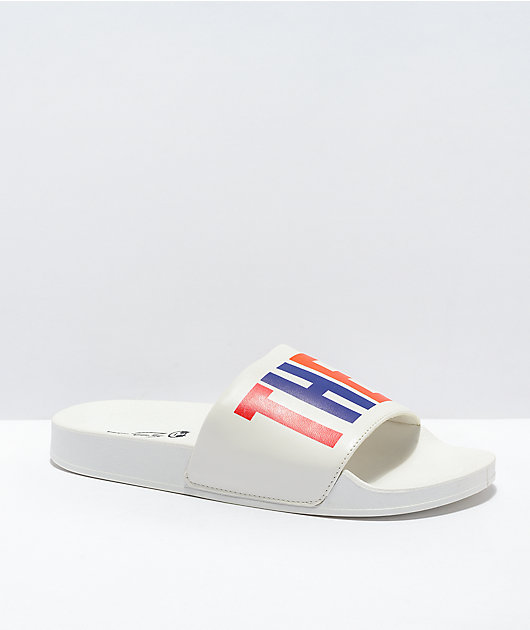 MAH They Them White & Rainbow Slide Sandals