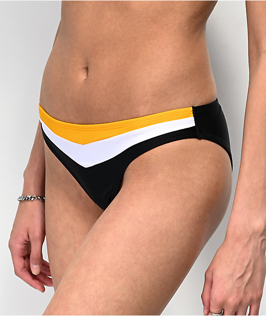 Malibu Black, White & Yellow Cheeky Bikini Bottom