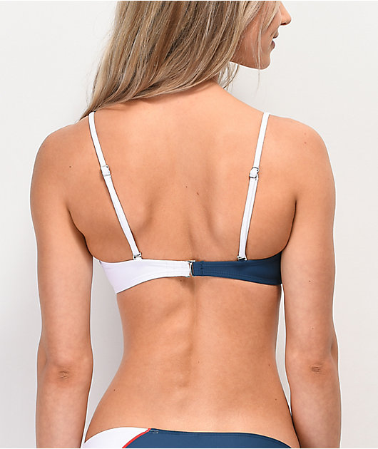 Malibu Red, White & Blue Colorblocked Bandeau Bikini Top