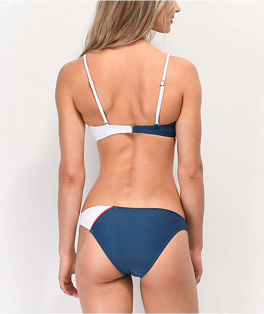 Malibu Red, White & Blue Colorblocked High Leg Bikini Bottom