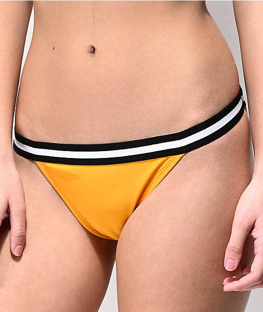 Malibu Yellow Finish Line Cheeky Bikini Bottom