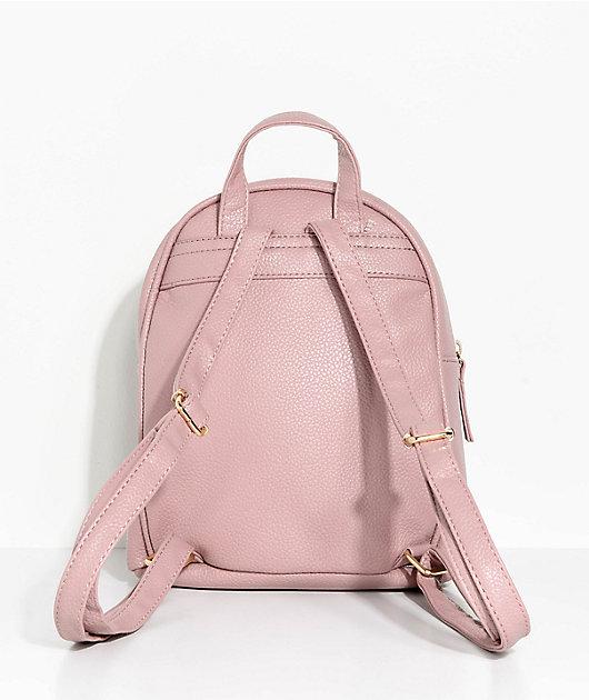 Mauve Faux Leather Mini Backpack