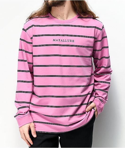 Maxallure Powell Pink & Black Stripe Long Sleeve T-Shirt