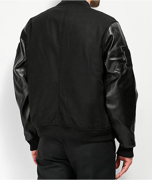 Members Only Black Wool Varsity Jacket
