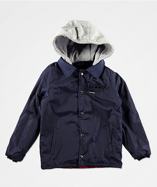 Members Only Boys Navy & Grey Hooded Coaches Jacket