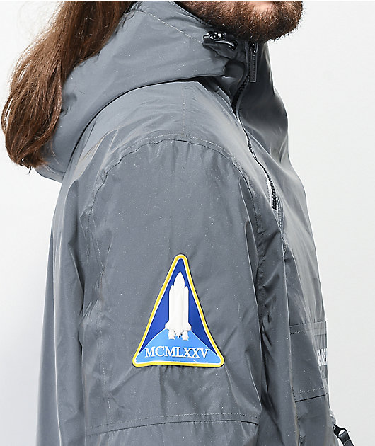 Members Only Space Suit Silver Reflective Pullover Jacket