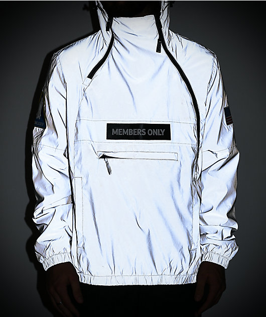Members Only Space Suit chaqueta plateada reflectante