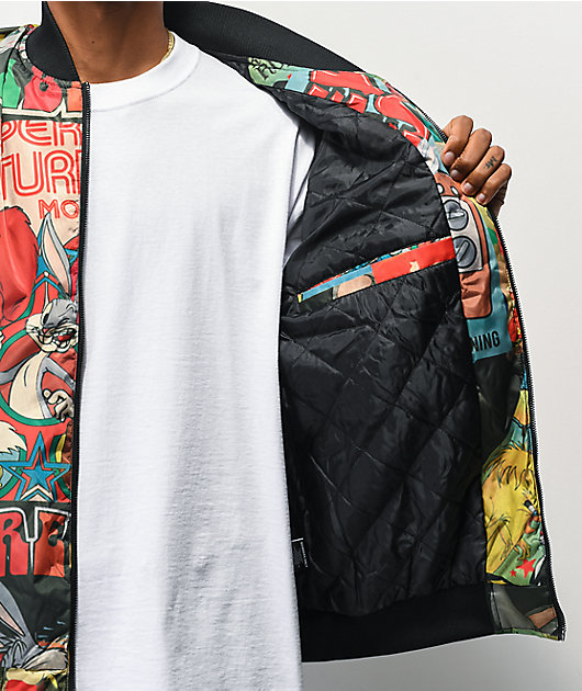 Members Only x Looney Tunes chaqueta bomber negra