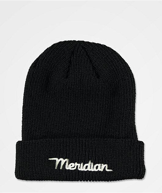 Meridian Script Logo Black Beanie