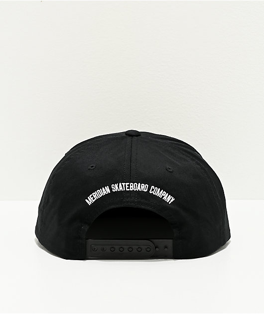 Meridian Script Logo Black Snapback Hat