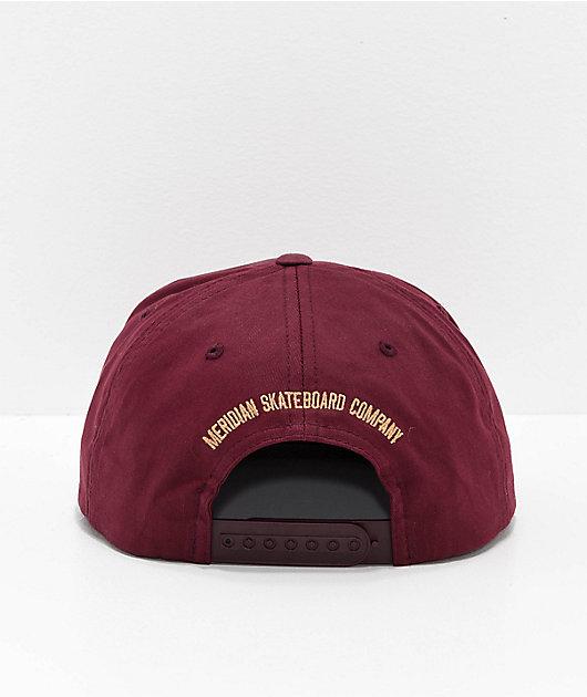 Meridian Skateboards Flag Burgundy Snapback Hat