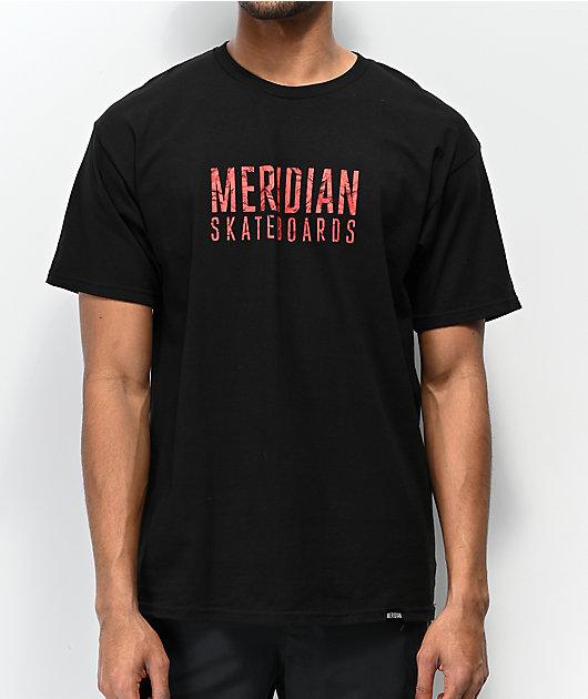 Meridian Skateboards Rose Logo Black T-Shirt