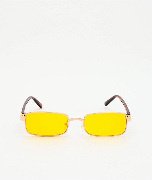 Micro Rectangle Tortoise & Yellow Sunglasses
