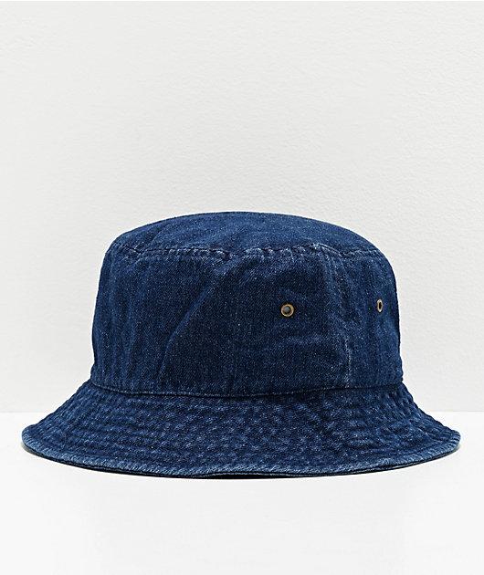 Milkcrate Raw Dark Blue Denim Bucket Hat