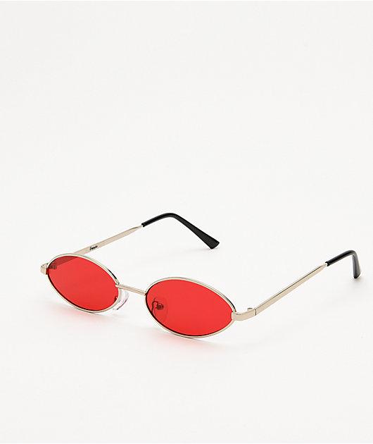 Miller mini gafas de sol ovaladas de color rojo y plata