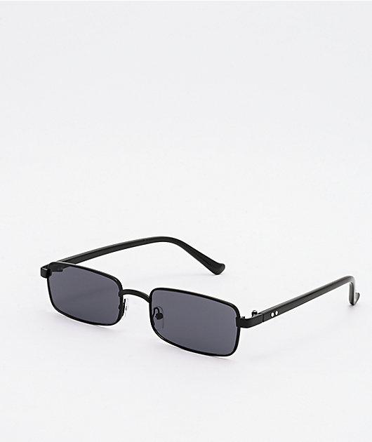 Mini Rectangular Black Sunglasses