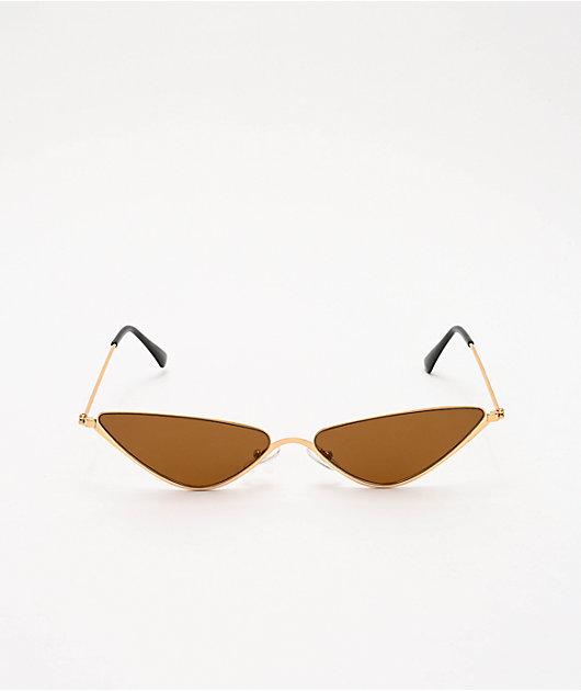 Mini Triangle Brown Smoke Sunglasses