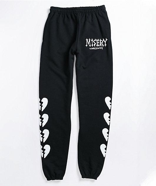 Misery Worldwide Broken Heart Black Jogger Sweatpants