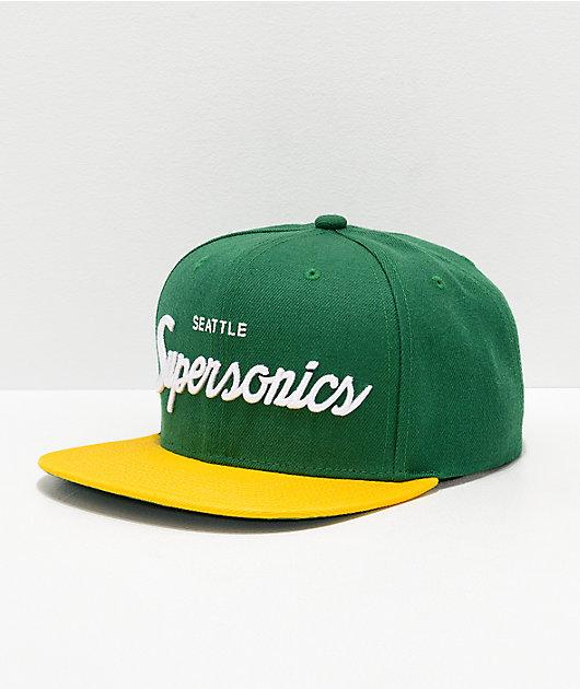 Mitchell & Ness Sonics Green & Yellow Snapback Hat