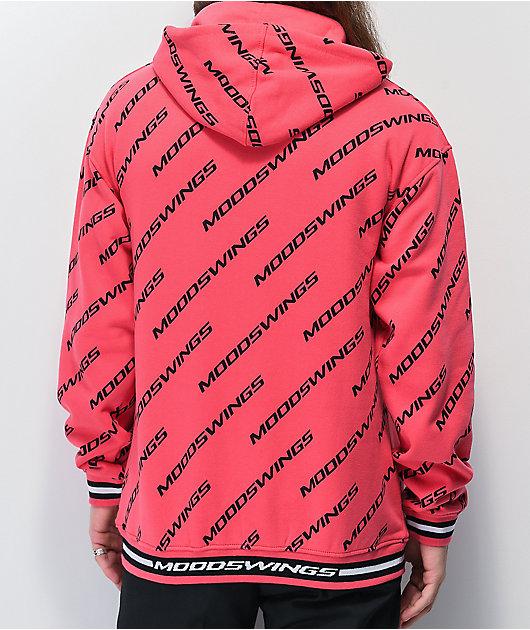 Moodswings All Over It Pink & Black Hoodie