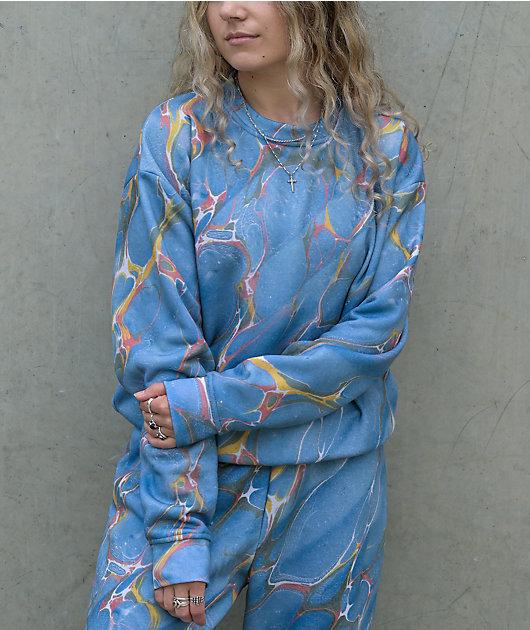NEW girl ORDER Blue Marbled Crew Neck Sweatshirt