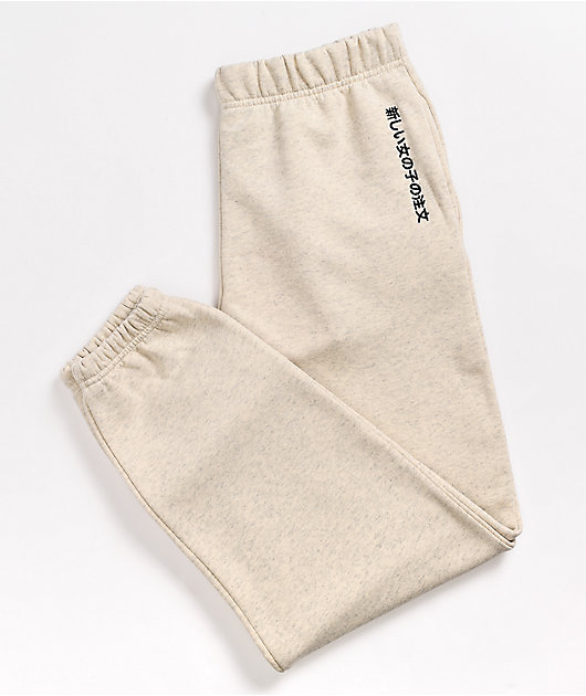 NEW girl ORDER Embroidered Text Beige Sweatpants