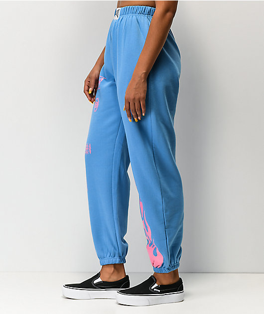 NEW girl ORDER Flame Blue & Pink Jogger Sweatpants