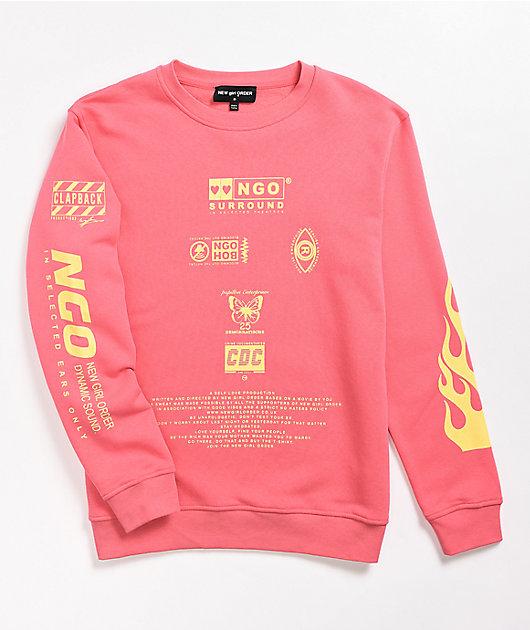 NEW girl ORDER Flame Coral Crewneck Sweatshirt