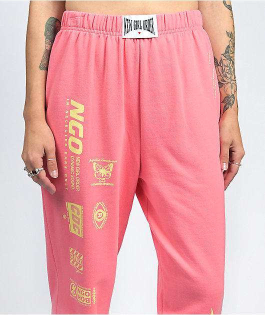 NEW girl ORDER Flame Coral Pink & Yellow Jogger Sweatpants