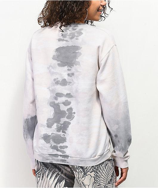 NEW girl ORDER Grey Tie Dye Crew Neck Sweatshirt