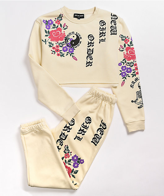 NEW girl ORDER Live Worldwide Flower Cream Jogger Sweatpants