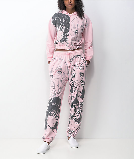 NEW girl ORDER Manga Anime Pink Jogger Sweatpants