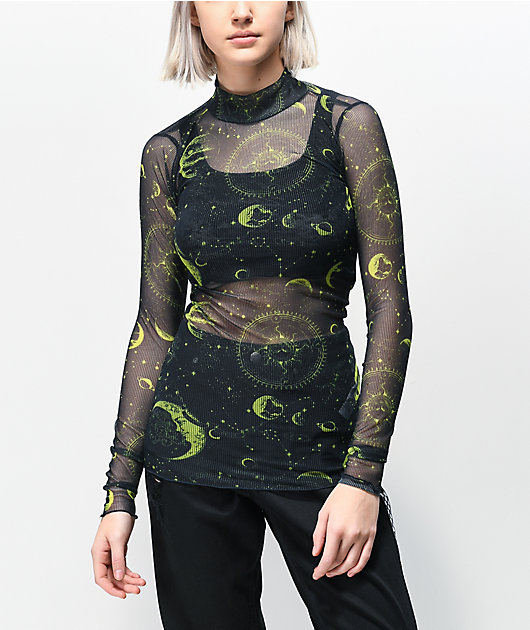 NEW girl ORDER Moon Black & Green Mesh Long Sleeve Top