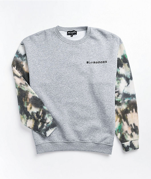 NEW girl ORDER Mottled Colorblock Crewneck Sweatshirt