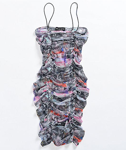 NEW girl ORDER Poster Ruched Mesh Mini Dress