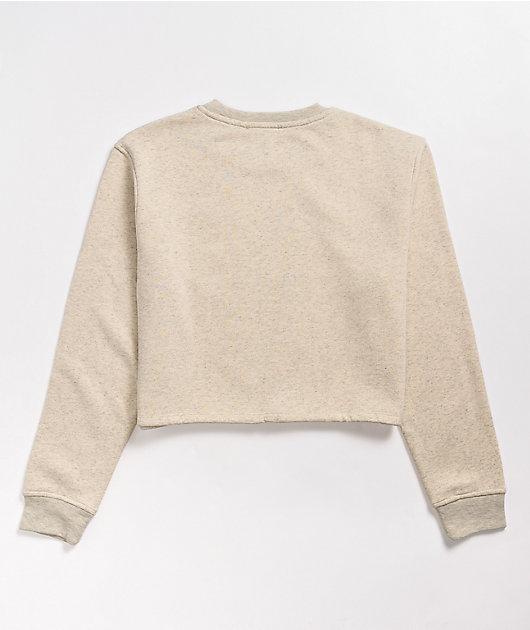 NGOrder Embroidered Text Beige Crop Crewneck Sweatshirt