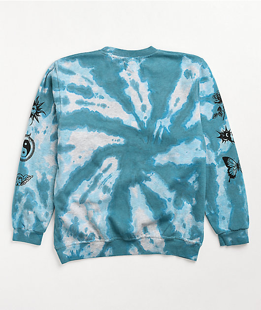 NGOrder Etched Blue Tie Dye Crew Neck Sweatshirt