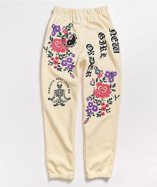 NGOrder Live Worldwide Flower Cream Sweatpants